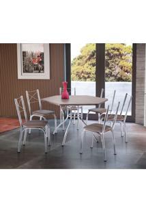 Conjunto De Mesa De Cozinha 6 Cadeiras Vancouver Couro Sintético Marrom