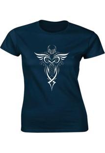 Camiseta Algodão Kronoz Feminina Azul Marinho