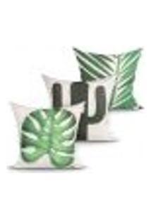 Capa Almofada Para Escritório Estampada Decorativa Kit Com 3 Unidades 45Cm X 45Cm Com Zíper