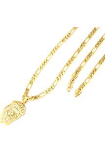 Pingente Face De Cristo Corrente 6Mm Tudo Jóias Folheado A Ouro 18K Dourado