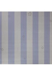 Kit 3 Rolos De Papel De Parede Fwb Azul E Branco Com Listras Prata - Kanui