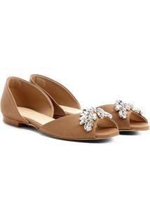 Sapatilha Couro Shoestock Pedras Feminina - Feminino-Nude