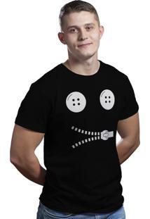 Camiseta Hunter Button Zíper Preta