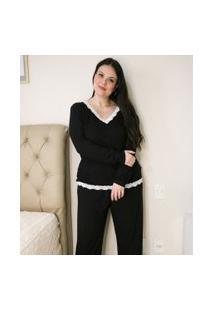 Blusa De Pijama Com Decote V E Detalhes Em Renda Curve & Plus Size   Ashua Curve E Plus Size   Preto   Gg