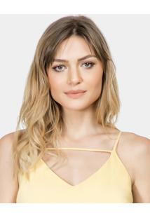 Blusa Com Alças Em Tecido Amarelo Gamuza - Lez A Lez