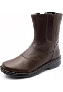 Bota Couro Doctor Shoes 372 Pespontos Café