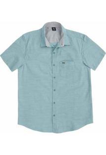 Camisa Masculina Regular Em Tecido De Algodão Com Bolso Frontal