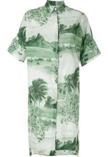 Osklen Vestido Chemise Rj Estampado - Verde