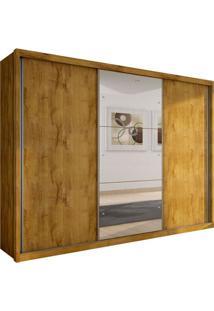 Guarda-Roupa Casal Com Espelho Malma Ii 3 Pt Freijó Dourado