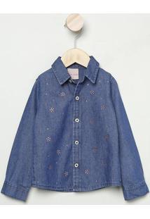 Camisa Jeans Com Termocolantes Aplicados- Azul Escuro