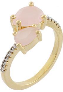 Anel Narcizza Semijoias Gota Dupla Quartzo Rosa Leitoso Com Detalhes Em Micro Zircônia Cristal Ouro