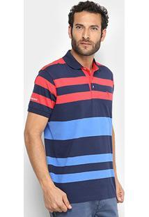 Camisa Polo Aleatory Listrada Iii Masculina - Masculino-Marinho+Vermelho