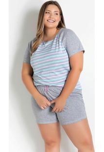 Pijama Com Laços Plus Size Mescla E Listrada