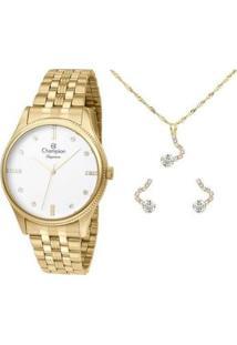 Kit Relógio Feminino Champion Analógico Elegance - Cn25841W Com Acessórios - Feminino-Dourado