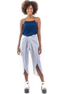 Blusa Decote Reto Feminina - Feminino-Azul