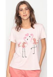 Blusa Flamingos- Rosa Claro & Rosa- Cavalaricavalari