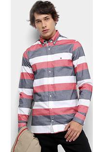 Camisa Manga Longa Tommy Hilfiger Listrada Slim Block Oxford Masculina - Masculino-Branco+Azul