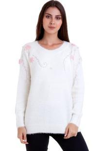 Suéter Bordado Com Pérolas - Feminino-Branco