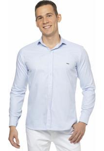 Camisa Slim Fit Alfaiataria Burguesia Em Oxford Azul Pastel