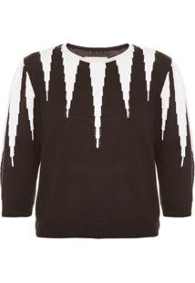 Allmost Vintage Blusa 'Garras' De Tricô - Preto&Branco
