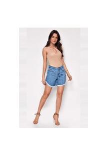 Bermuda Jeans Versus Magazine Feminina Latika Com Detalhe Na Barra Azul