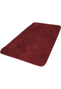 Tapete Veludo Retangular Antiderrapante Liso Vip 50Cm X 90Cm Jolitex Vermelho