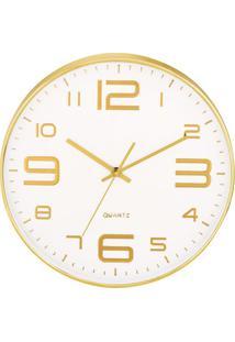 Relógio De Parede- Branco & Dourado- Ø35,5X4Cm- Mart