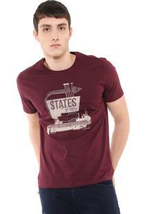 Camiseta Calvin Klein Jeans States Of Youth Bordô