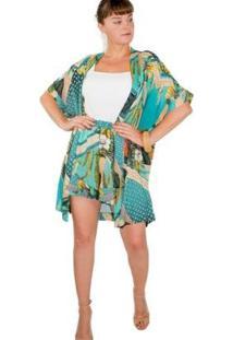 Cardigan Kimono Médio Viscose Estampado Floral Turquesa - Feminino