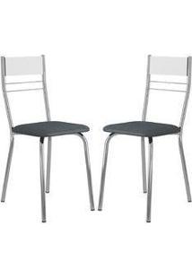 Cadeira 026 Cromada 02 Unidades Branca/Jeans Carraro