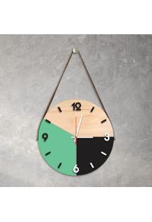 Relógio De Parede Decorativo Adnet Verde Claro E Preto Com Números Em Relevo Médio