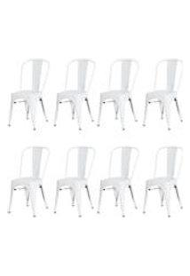 Kit 8 Cadeiras Tolix Iron Design Branca Aco Industrial Sala Cozinha Jantar Bar