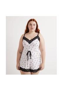 Pijama Macaquinho Em Viscose Com Estampa De Corações E Detalhes Em Renda Curve & Plus Size | Ashua Curve E Plus Size | Branco | G1
