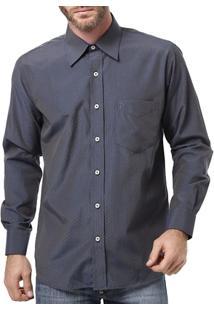 Camisa Manga Longa Masculina Di Marcus Azul Marinho - Masculino