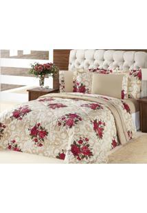 Edredom Queen Murano Bouquet Vermelho Flores Vermelhas Com 3 Peças - Aquarela