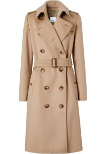 Burberry Trench Coat Em Cashmere - Neutro