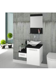 Conjunto Para Banheiro Gabinete Com Cuba De Apoio Folha L34 E Espelheira Legno 631W Branco/Preto Onix