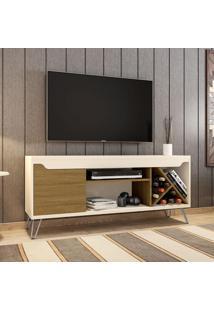 Rack Para Tv Até 55 Polegadas Kenzo 1 Porta Off White/Cinamomo - Móveis Bechara