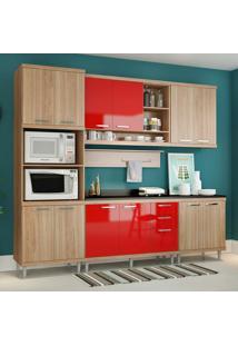 Cozinha Compacta Com Tampo 12 Portas 5815 Argila/Vermelho - Multimóveis
