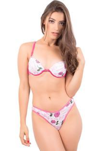 Conjunto Lingerie Rendado Estampado - Feminino-Pink