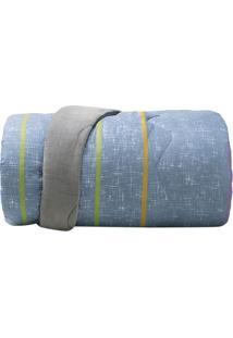 Edredom New Confort Listras Solteiro- Azul & Cinza- Altenburg