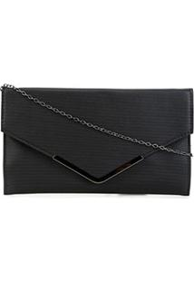 Bolsa Shoestock Clutch Evening Envelope Feminina - Feminino-Preto