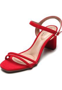 Sandália Beira Rio Tiras Vermelha