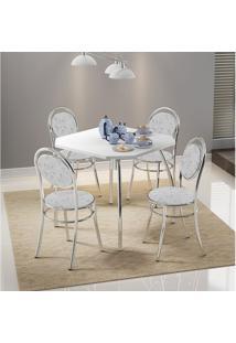 Mesa 1504 Branca Cromada Com 4 Cadeiras 190 Fantasia Branco Carraro