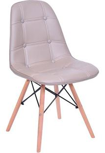 Cadeira Eames Botonê- Fendi & Madeira- 83X44X39Cm
