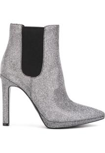 Michael Kors Collection Ankle Boot Brielle Com Brilho - Prateado