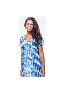 Blusa 101 Resort Wear Saida De Praia Estampada Crepe Decote V Bicho Azul