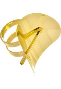 Anel Le Diamond Oval Curvado Dourado