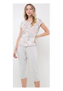 Pijama Manga Curta E Capri Floral
