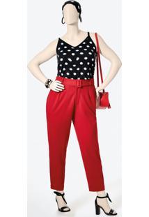 Calça Vermelha Cigarrete Em Tecido Creponado